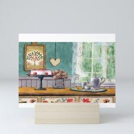 Tea Time - Hand Painted Watercolor Art Mini Art Print