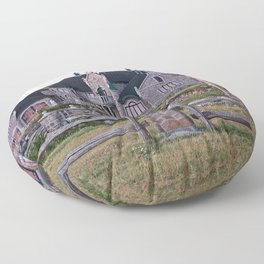 Stone Mansion on the River Floor Pillow