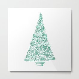 green Christmas tree in New Zealand Metal Print