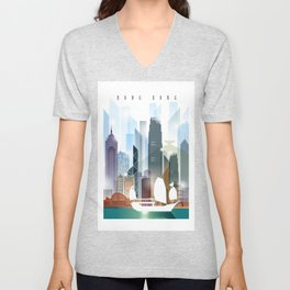 The city skyline of Hong Kong Unisex V-Neck
