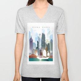 The city skyline of Hong Kong Unisex V-Neck