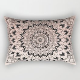 Boho black watercolor floral mandala rose gold glitter ombre pastel blush pink Rectangular Pillow