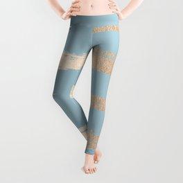 Abstract Paint Stripes Gold Tropical Ocean Sea Blue Leggings
