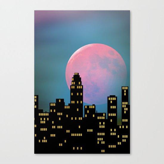 Super Moon over the City Canvas Print