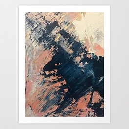 Hidden Gem [3]: an abstract mixed media piece in pink, blue, gold and white Art Print