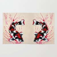 koi fish Area & Throw Rugs featuring Koi by Puddingshades
