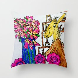 Myff Pet and Flowers Throw Pillow