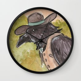 Southwestern Crow With Bolo Tie Surveys The Landscape From A Tree Wall Clock