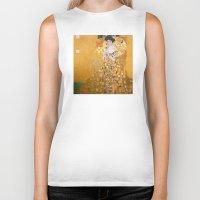 gustav klimt Biker Tanks featuring Gustav Klimt - The Woman in Gold by Elegant Chaos Gallery