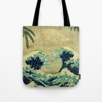 asian Tote Bags featuring The Great Blue Embrace at Yama by Kijiermono