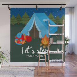 Camping blue tent Wall Mural