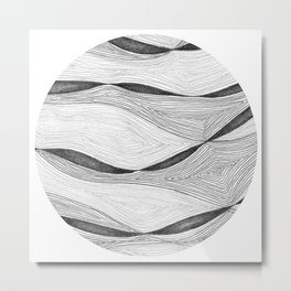 Mountain Ribbons 2- Circle Metal Print