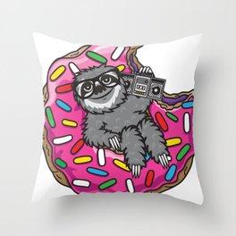 Sloth donut music Throw Pillow