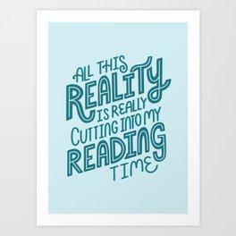 Reality Vs. Reading Blue Art Print