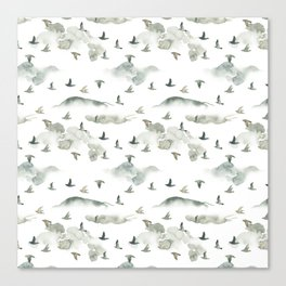 Hand painted green gray watercolor cloud bird pattern Canvas Print