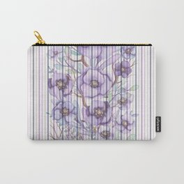 Watercolor purple lavender lilac floral stripes Carry-All Pouch