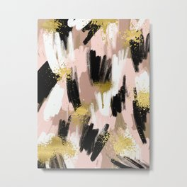 Blush and Gold Abstract Metal Print