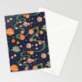 Cosmos Pattern, Blue, Orange, Green, Cosmic, Space Stationery Cards