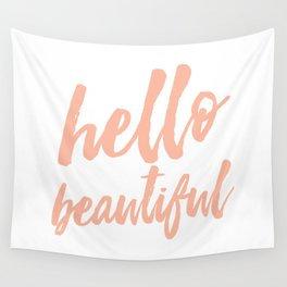 Hello Beautiful - Coral Typography Wall Tapestry