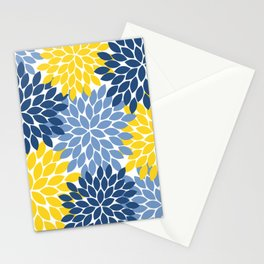 Blue Yellow Flower Burst Floral Pattern Stationery Cards