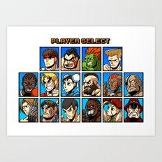 Street Fighter Player Select Art Print