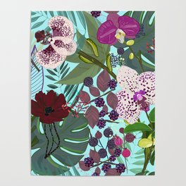 Orchid and Cosmos Flower Botanical Floral Pattern Poster