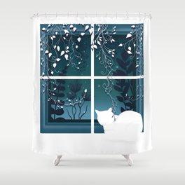 White Kitty Cat Window Watcher Shower Curtain