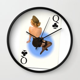 """Queen of Clubs"" - The Playful Pinup - Vintage Black Lingerie Pinup by Maxwell H. Johnson Wall Clock"