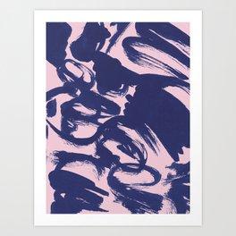 blue brushstrokes Art Print