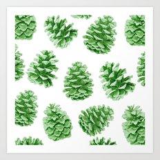 Minty Green Pine Cones Art Print