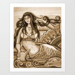 Mermaid and Dolphin Art Print