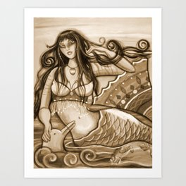 Mermaid and Dolphin Art Print