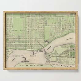 Vintage Map of Davenport Iowa (1875) Serving Tray