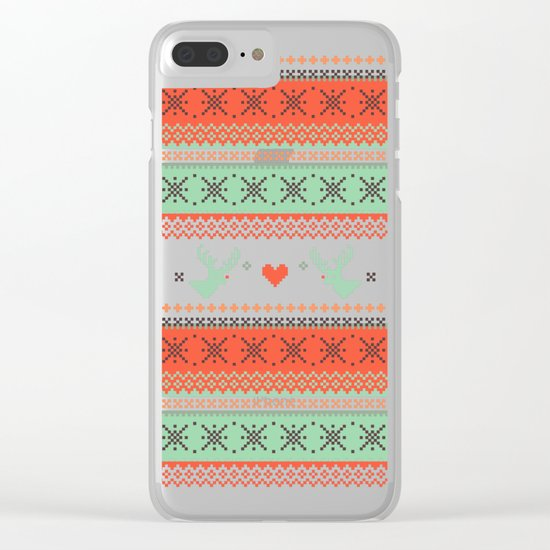 Holiday Pixels Clear iPhone Case