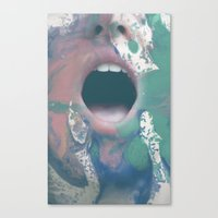 mouth Canvas Prints featuring mouth by Rebecca Scerri