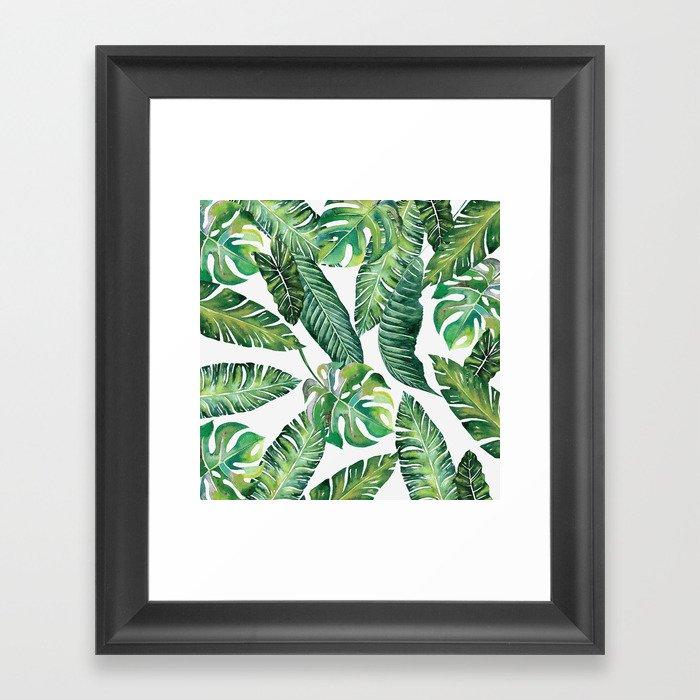 Jungle Leaves, Banana, Monstera #society6 Gerahmter Kunstdruck