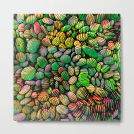 Stones and Palms - Green Grass Metal Print