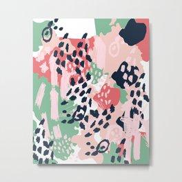Brooklin - abstract minimal pink coral navy painting home decor abstract charlotte winter art Metal Print