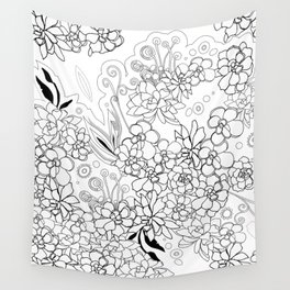 Succulents, black and white Wall Tapestry