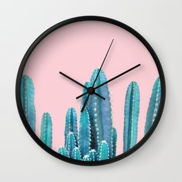 Pastel Cactus Pink Background Wall Clock