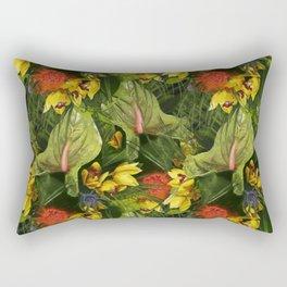 Tropical flowers at night Pattern Rectangular Pillow