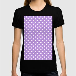 Small Polka Dots - White on Light Violet T-shirt