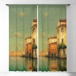 Gondolier on a Venetian Canal landscape painting by Antoine Bouvard Blackout Curtain