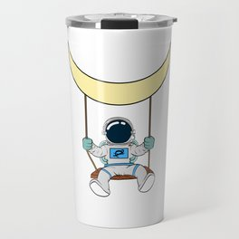 Are You A Fan Of Astronomy? An Astronaut Dreamer? Astronaut Riding A Swing Under The Moon T-shirt Travel Mug