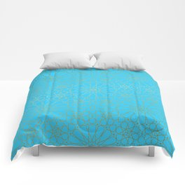 Moroccan Nights - Gold Teal Mandala Pattern - Mix & Match with Simplicity of Life Comforters