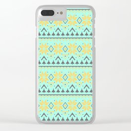 Knitted Christmas pattern turquoise Clear iPhone Case