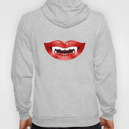 Vampire Mouth Illustration With Red Lips And Fangs Hoody