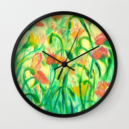 Sun drenched Poppies Wall Clock