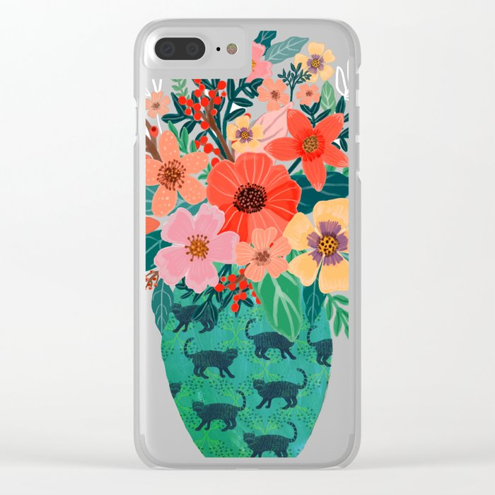 Jar with flowers, cute floral bouquet Clear iPhone Case