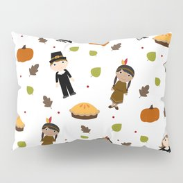 Pilgrims and Indians pattern - Thanksgiving Pillow Sham